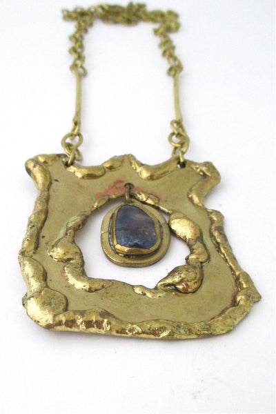 Rafael Alfandary Canada vintage large brass and water blue glass kinetic pendant necklace