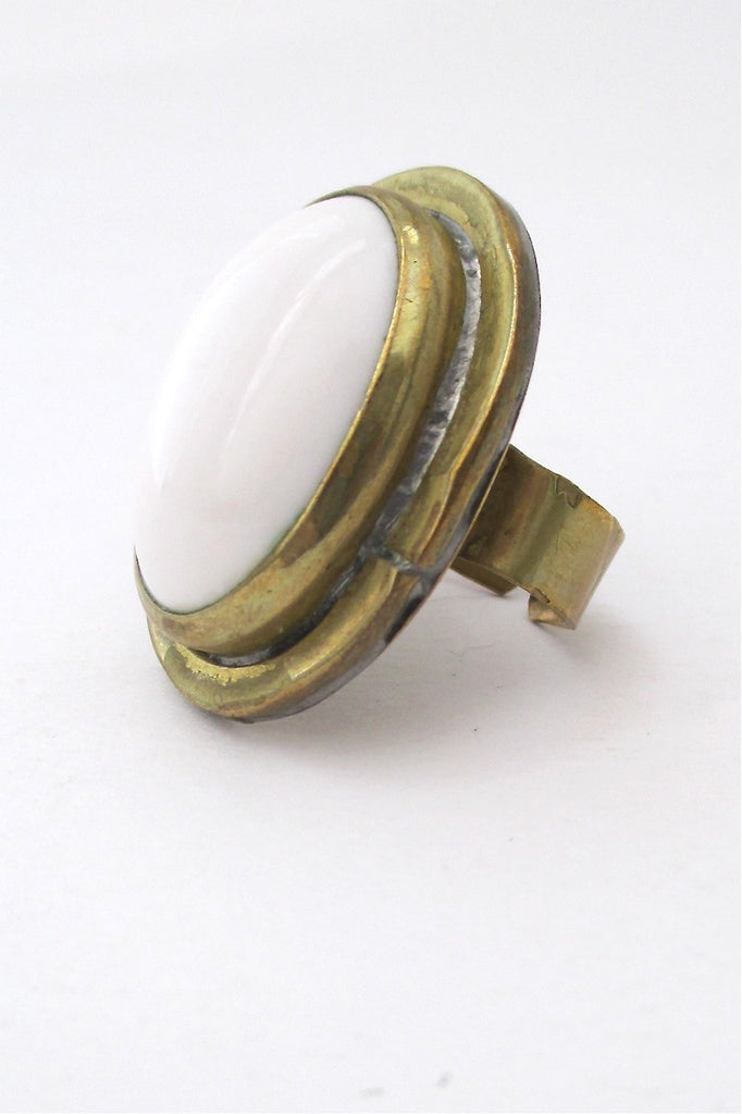 Rafael Canada large vintage brass and opaque white stone ring