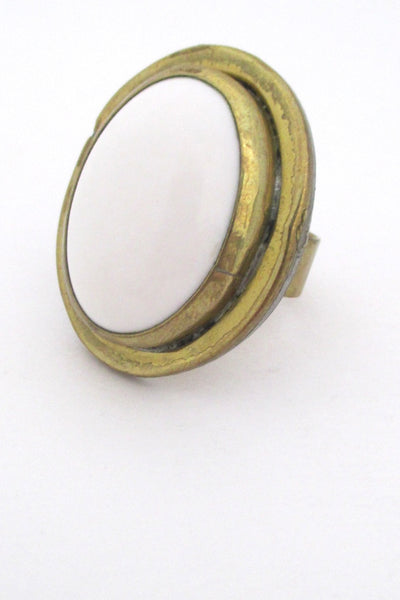 Rafael Alfandary Canada vintage brutalist brass and white cabochon large ring