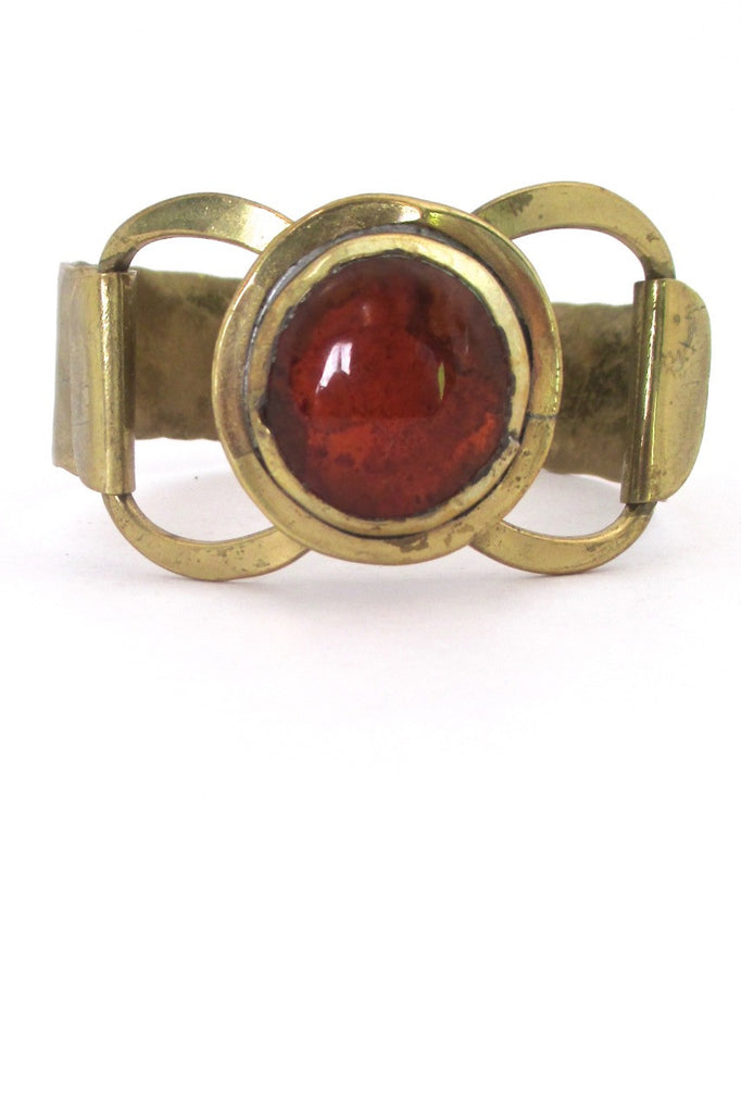 Rafael Alfandary Canada vintage brutalist brass and clear orange hinged bracelet