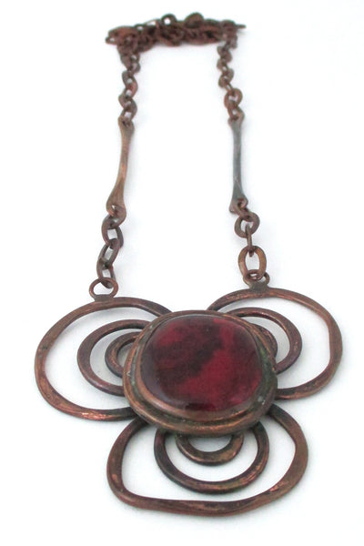 Rafael Alfandary Canada vintage brutalist copper and glass red trefoil necklace