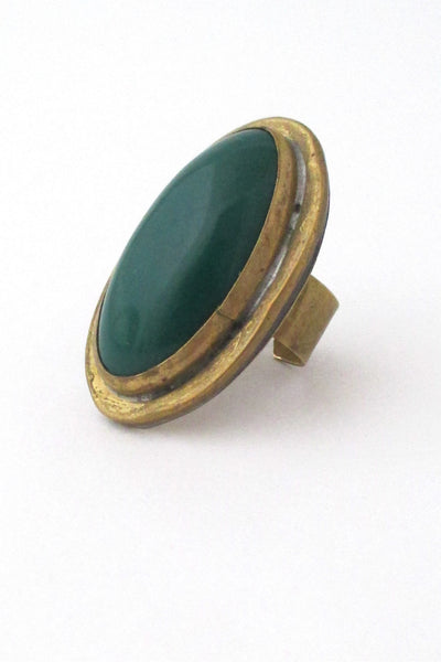 Rafael Alafandary Canada large vintage brass & glass oval green ring