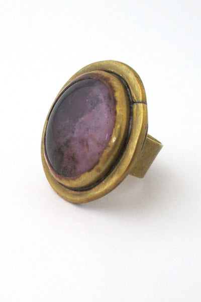 Rafael Alfandary Canada vintage large round purple  & brass ring