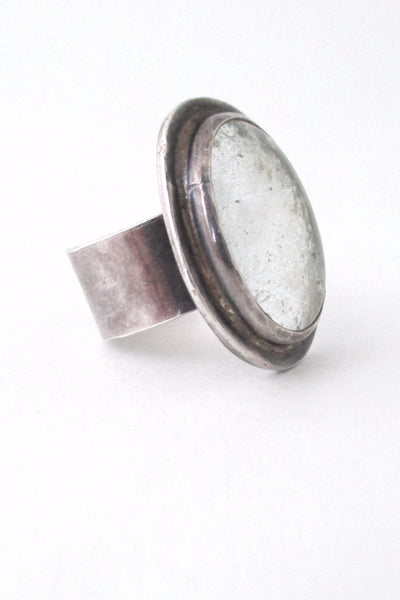 Rafael Alfandary Canada rare vintage sterling silver ring clear glass