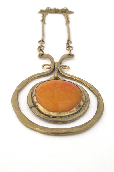 Rafael Alfandary Canada vintage brass and orange swirl glass kinetic necklace