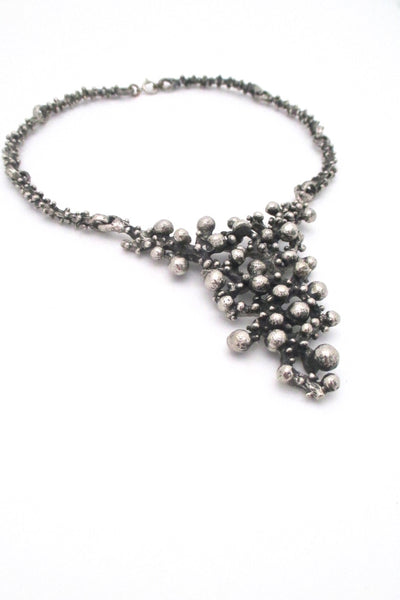 Robert Larin Canada vintage brutalist pewter large bib necklace