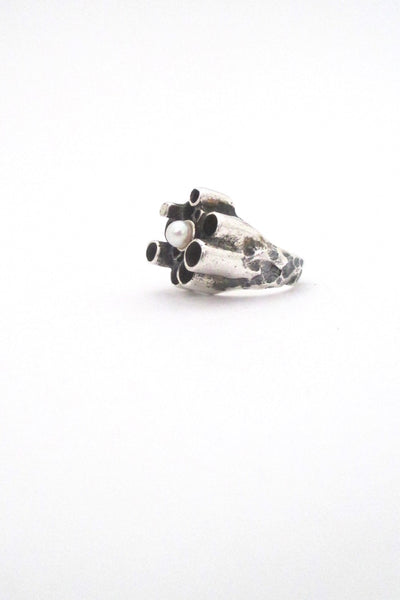 Robert Larin textured sterling & pearl sculptural ring