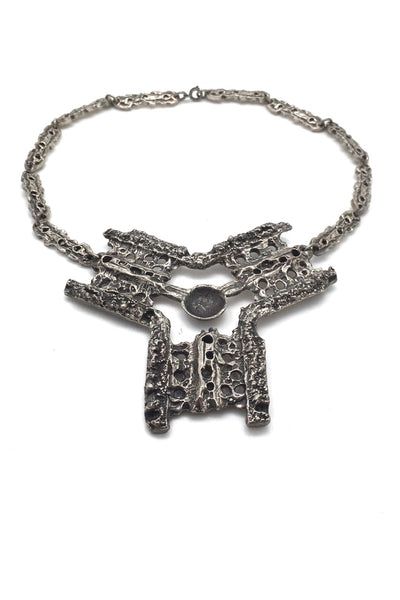 Robert Larin Canada vintage brutalist pewter large bib necklace mid century design jewellery