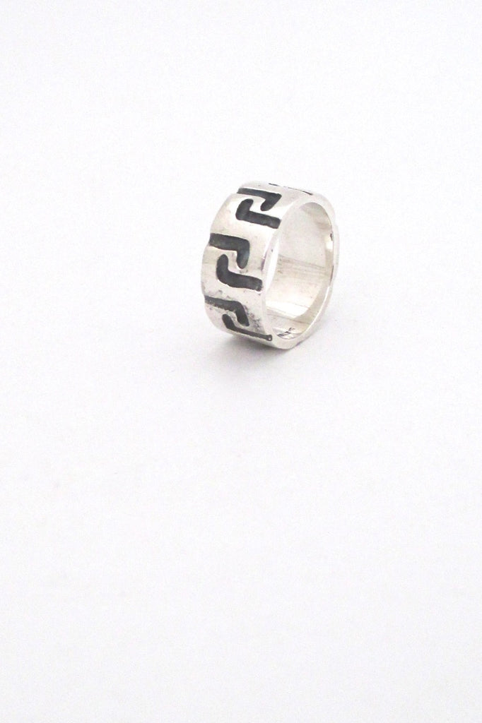 Robert Larin Canada vintage brutalist sterling silver textured band ring 3