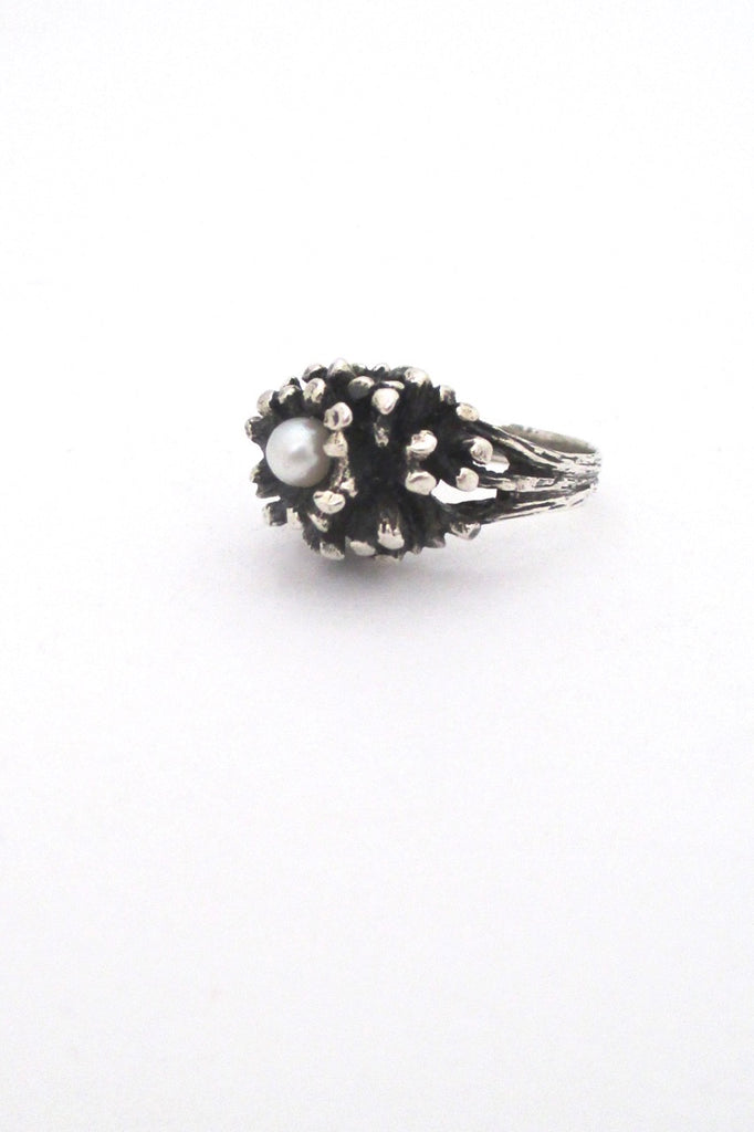 Robert Larin Canada vintage brutalist sterling silver and pearl cluster ring