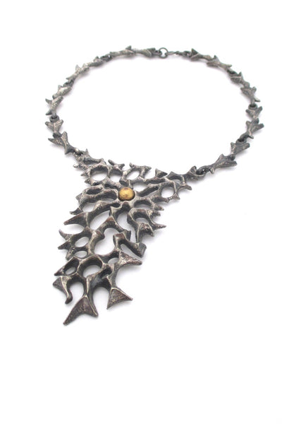 Robert Larin Canada vintage brutalist pewter and bronze sphere large bib necklace