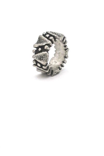Robert Larin Canada vintage brutalist pewter dots ring