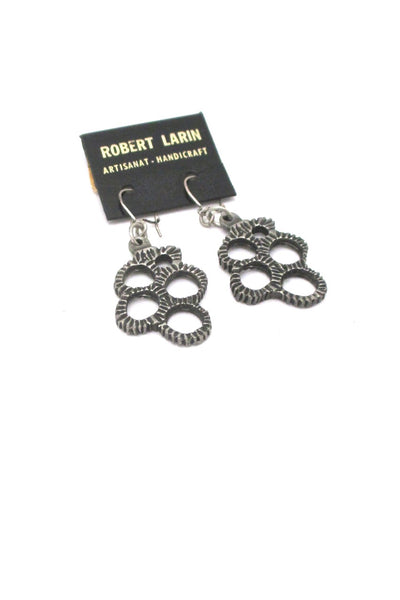 Robert Larin Canada vintage brutalist pewter drop earrings 369