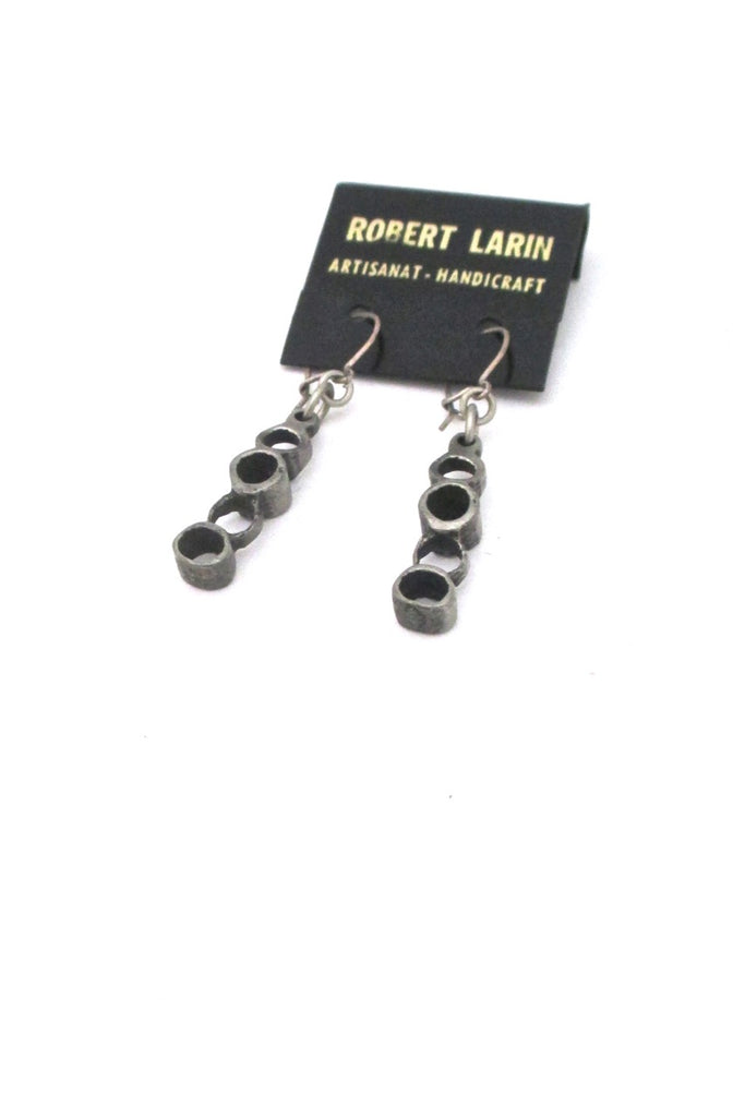 Robert Larin Canada vintage brutalist pewter drop earrings 378