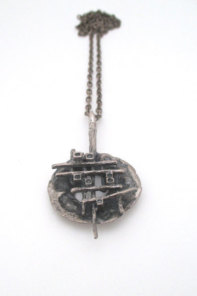 Robert Larin Canada vintage brutalist pewter grid pendant necklace wearable sculpture