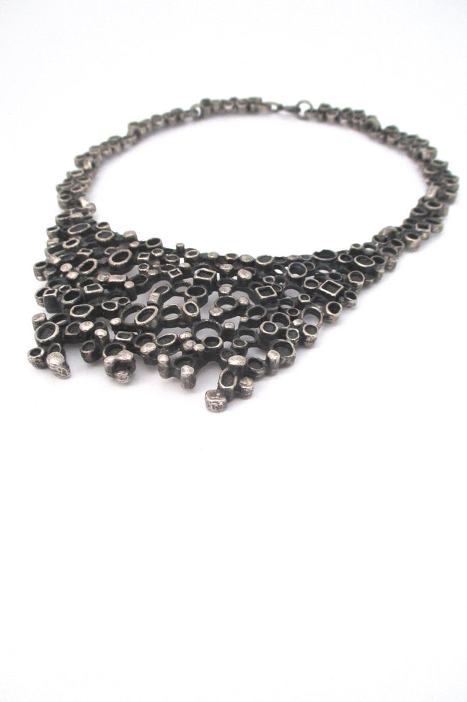 profile Robert Larin Canada vintage brutalist pewter extra large bib necklace