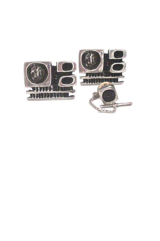 Robert Larin Canada vintage brutalist pewter large cufflinks tie tack set original box 1