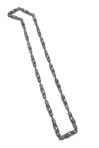Robert Larin Canada vintage brutalist pewter 2 in 1 double sided long link chain necklace Canadian design jewellery