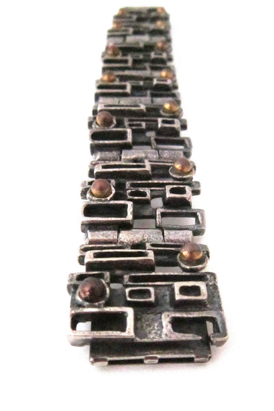 Robert Larin Canada brutalist pewter and bronze windows bracelet