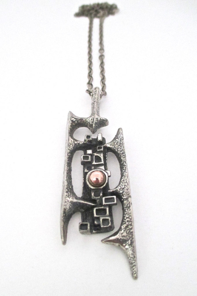 Robert Larin Canada vintage brutalist pewter and bronze openwork pendant necklace