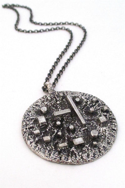 Robert Larin Canada vintage modernist brutalist pewter syicks and stones pendant necklace