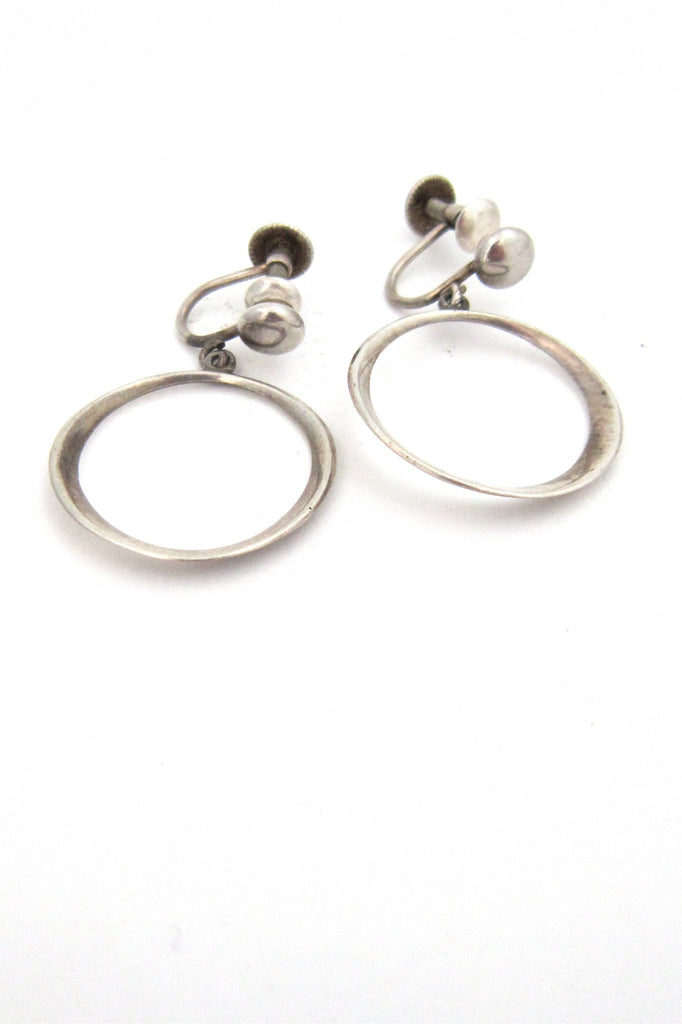 American Modernist Ronald Hayes Pearson sterling silver hoop earrings