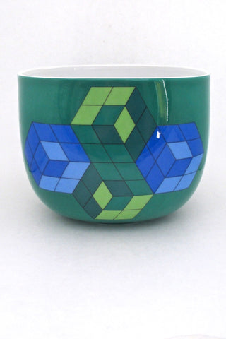 Victor Vasarely for Rosenthal Germany limited edition large op art Suomo bowl Timo Sarpaneva vintage ceramic
