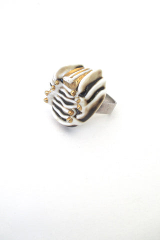 Royal Copenhagen Anton Michelsen Denmark Royal Bini large silver porcelain ring vintage Scandinavian Modernist jewelry