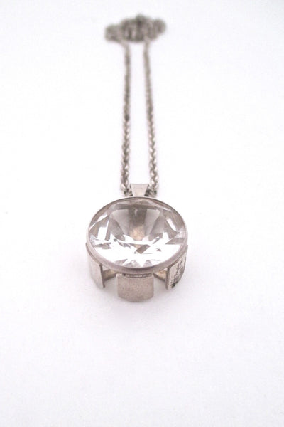 Kultaseppa Salovaara Finland large rock crystal and silver Nordic Modern pendant necklace