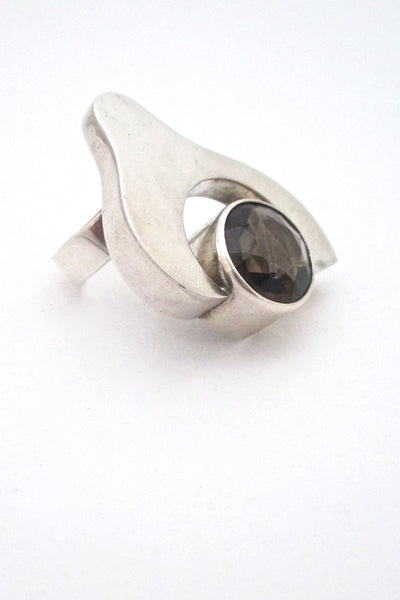 Salovaara Finland extra large vintage modernist ring in sterling silver and smoky quartz