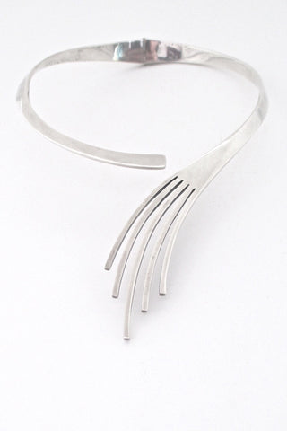 detail Sigi Pineda Mexico heavy silver modernist necklace collier choker