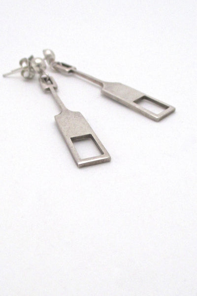 Tone Vigeland for Plus Studios Norway mid century silver drop earrings Nordic Design
