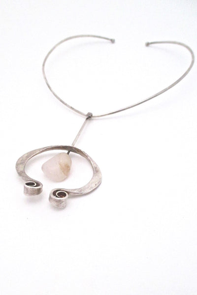 Tone Vigeland Plus Studio Norway vintage silver quartz pendant and neck ring necklace Scandinavian Modern design