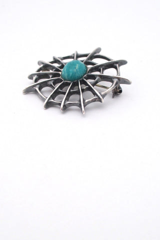 Uni David-Andersen Norway vintage silver amazonite spider web brooch Troll series