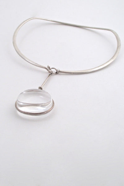 Vivianna Torun for Georg Jensen Denmark large Dew Drop rock crystal neck ring and pendant