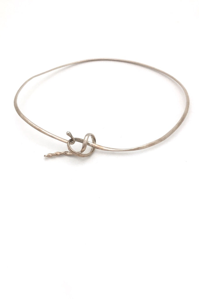 Georg Jensen Denmark vintage silver neck ring collier choker 241 Forget Me Knot by Vivanna Torun Bülow-Hübe Scandinavian Modernist design jewelry