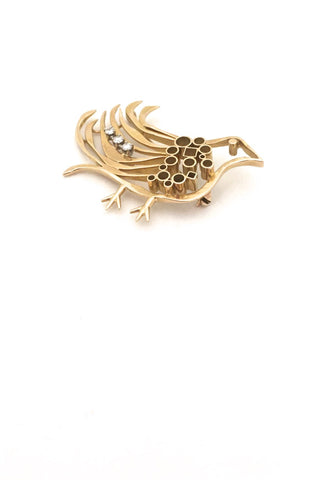 detail Walter Schluep Canada vintage 18k gold diamond bird brooch Canadian Modernist jewelry design