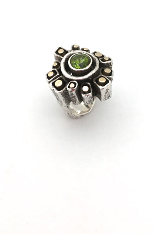 Walter Schluep Canada large vintage silver and gold brutalist ring with peridot mid century modernist jewelry design