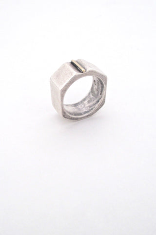 Walter Schluep Canada vintage silver gold wide ring