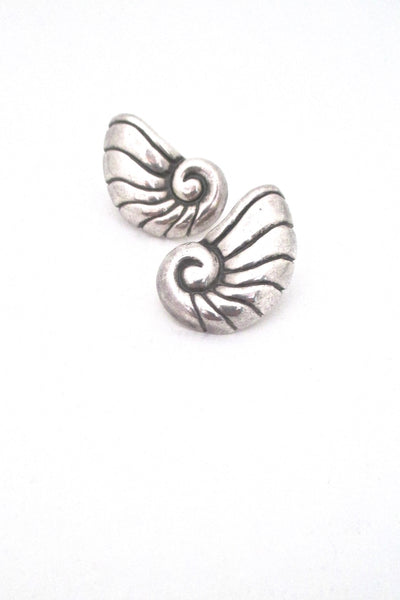 William Spratling Mexico vintage silver nautilus shell earrings post backs for pierced ears