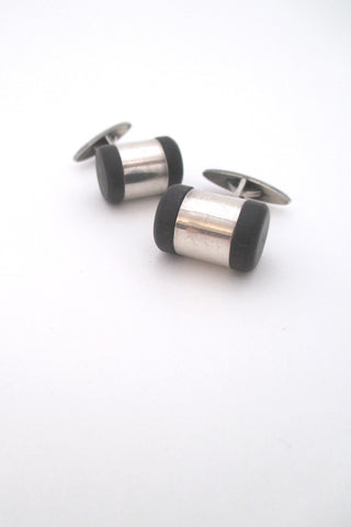 aarikka Finland vintage modernist silver and wood cufflinks