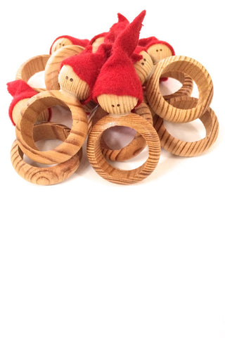 aarikka Finland vintage wood Christmas elf napkin rings set of 10