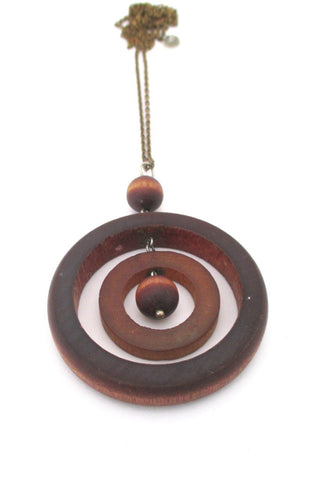 aarikka Finland large cognac dyed wood Scandinavian Modern kinetic pendant necklace