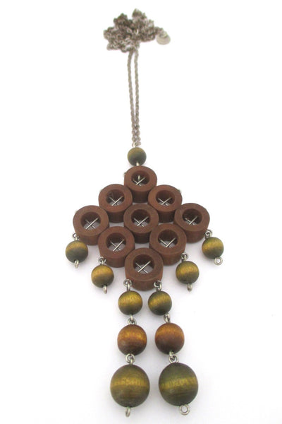 aarikka Finland large green and tan dyed wood Scandinavian Modern kinetic pendant necklace