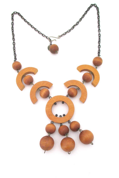 aarikka Finland large yellow dyed wood Scandinavian Modern kinetic necklace