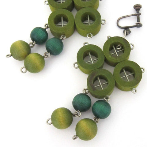aarikka Finland vintage multi greens drop earrings