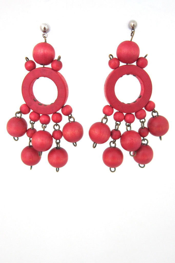 aarikka, Finland vintage red drop earrings
