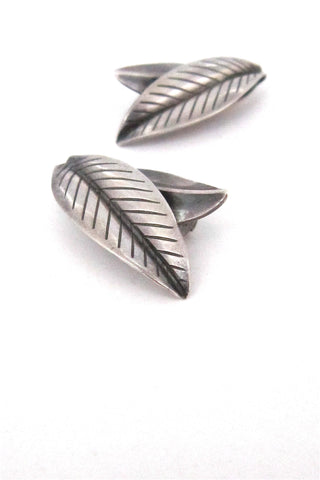 Anton Michelsen, Denmark vintage sterling silver leaves ear clips