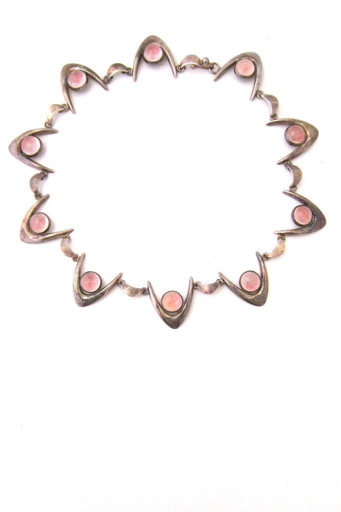 Arne Johansen, Denmark sterling silver & rose quartz boomerang necklace