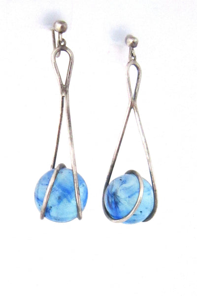 Bent Knudsen, Denmark sterling silver and aqua glass kinetic earrings